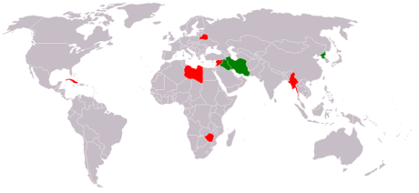 A composite map of distasteful and unacceptable regimes, as named by President Bush and John Bolton