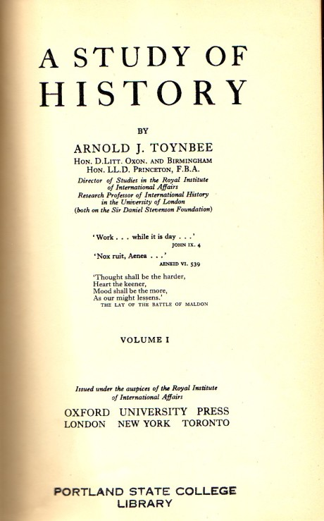 The title page of the unabridged first volume of Toynbee's A Study of History.