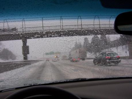 I-5 southbound, north of downtown Portland. The windshield was so clogged with partly melted snow that I could barely see. I had to open the window and brush it off with one hand while driving with the other.
