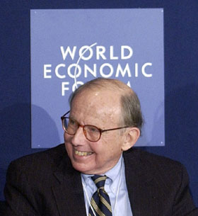 "Samuel P. Huntington (18 April 1927 - 24 December 2008) as ""Davos Man"""