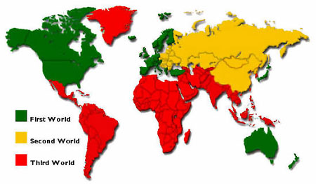"""The Cold War not only issued in a global stalemate that defined the twentieth century, it also created the political category of the """"Third World"""", as illustrated on this map."""