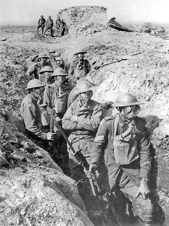 Trench warfare during the First World War.