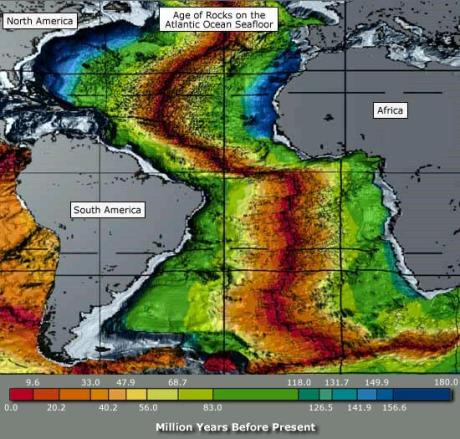 By analyzing radioactive minerals in igneous rocks, scientists can tell how much time has passed since rocks solidified from lava. This amount of time defines the age of a rock. This image shows the age of rocks on the Atlantic Ocean seafloor.