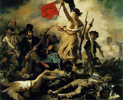 """Eugène Delacroix's """"La Liberté guidant le peuple"""" is often employed as a symbol of revolution."""