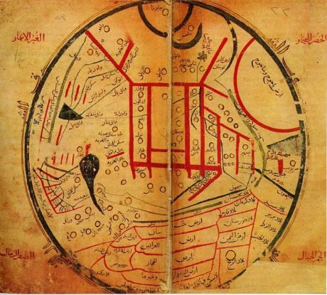 A map of the world by Mahmud al-Kashgari from his Diwan Lugat at-Turk, believed to date from 1072 AD.