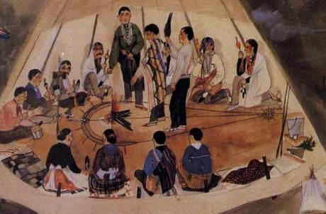 An illustration of a Native American peytoe ceremony.