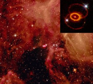 SN 1987a, close up and in context (from Wikipedia)