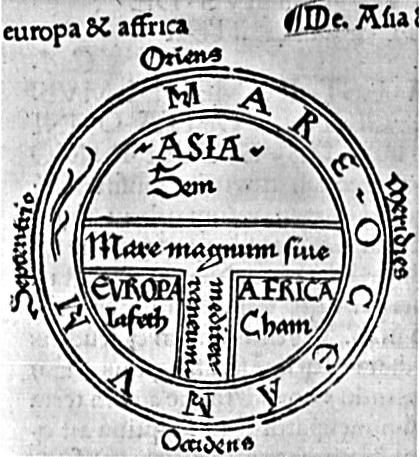 "A medieval ""T"" map, also called a ""T-O"" map or a ""T and O"" map or a ""T in O"" map."