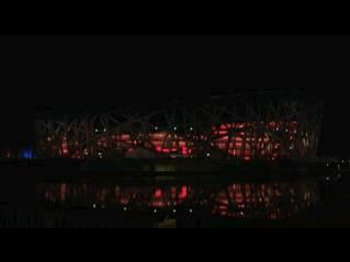 "The ""bird's nest"" stadium in Beijing during Earth Hour."