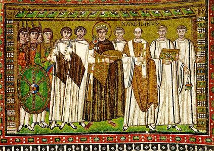 The Emperor Justinian, here portrayed in a mosaic in the church of San Vitale in Ravenna, Italy, presided over the Byzantine Empire at its extent shown in the map above.