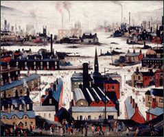 The city transformed by industrialization became the focus of the Industrial Revolution (L.S. Lowry, Industrial City, 1948).