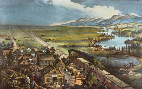 "The railroad as a form of ""conquest"": the unity of western frontier and technological frontier (Frances Flora Palmer, for Currier and Ives, Across the Continent: Westward the Course of Empire Makes Its Way, 1868)."