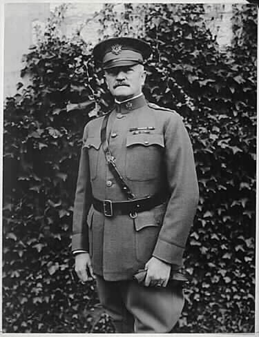 "John J. ""Black Jack"" Pershing in October 1918 during the First World War. Pershing insisted on US troops fighting under US command when European allies wanted to integrate US forces into European armies under European command."