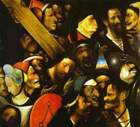 Hieronymous Bosch, Christ Carrying the Cross, 1485-1490. Bosch is known for his fantastical images, but this painting is remarkable in its own way for its focused study of heads and for Christ shown in serenity among a grotesque mob.