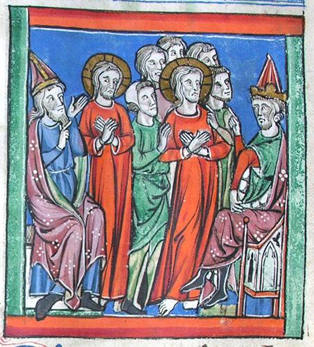 A medieval manuscript illumination of Christ before Herod.