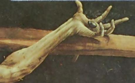 Detail of one hand of the crucified Christ from the Issenheim altar.