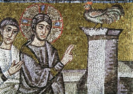 A mosaic from Ravenna illustrating the crow of the cock after Peter has thrice denied Christ.