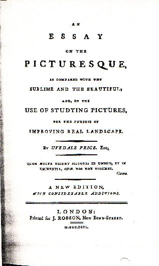 Title page of the first edition of Uvedale Price's An Essay on the Picturesque, one of these wonderful Enlightenment era treatises on aesthetic taste.