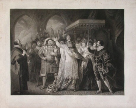 "An engraving by Joseph Collyer (London, 1748 - 1827) of ""The Christening of Queen Elizabeth"""