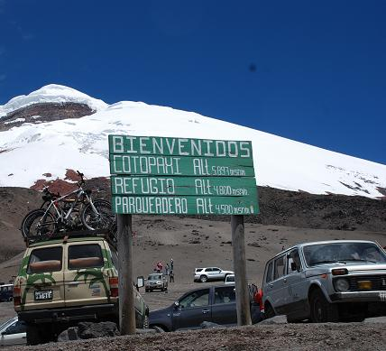 The sign at the parking lot at the end of the road up Cotopaxi.