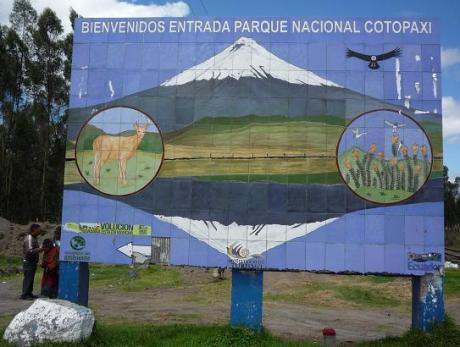 The sign along the Panamericana south of Quito marking the entrance to Cotopaxi National Park. You can only see this sign southbound; the northbound side is blank.