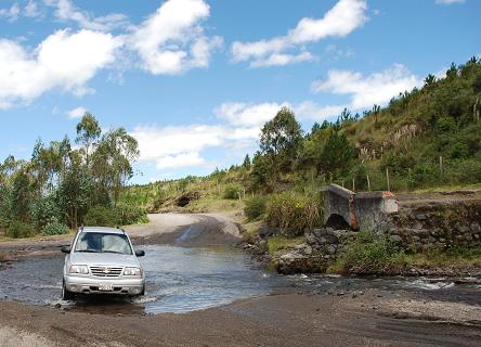 On the road from the Panamericana to the Cotopaxi National Park you have to ford a stream as a small bridge is out.