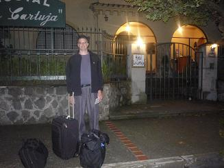 A poor quality photo of me having just arrived at the Hostal La Cartuja in Quito.