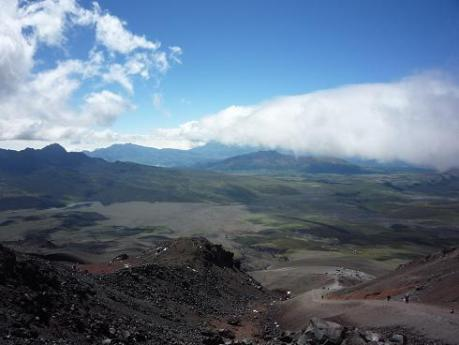 The view outward from the slopes of Cotopaxi: no photograph can do it justice.
