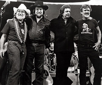 Willie Nelson, Waylon Jennings, Johnny Cash, and Kris Kristofferson, left to right, recorded the Jimmy Webb song The Highwayman and made a commercial success of it.