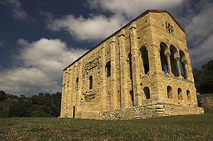 The architecture, art, and literature of the western European Dark Ages is relatively modest and humble.  This picture of Santa María del Naranco, an example of Asturian architecture of the Ramirense period, shows it to be a building of harmonious proportions, but still diminutive in comparison to, say, the Colosseum preceeding it or Notre Dame de Paris following it; but at about the same time Hagia Sophia was being built at Constantinople at a scale to rival any monumental construction.