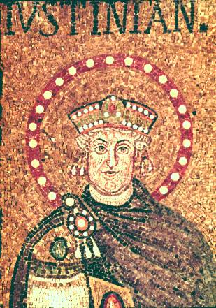 A lesser known mosaic of Justinian (also from Ravenna, like the most famous image of Justinian), the Byzantine emperor who commissioned the Corpus Iuris Civilis.