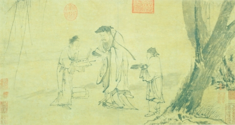 Wang Hsi-chih Calligraphing a Fan Album leaf, ink on paper, 31.3 x 58.9 cm, National Palace Museum, Taipei