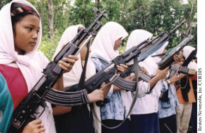 Guerrilla recuits in Aceh training with AK-47s.