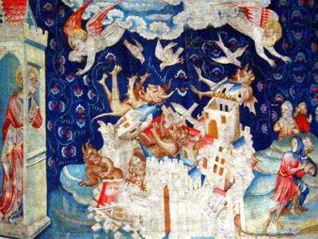 A scene from the apocalypse tapestry at Anger, France