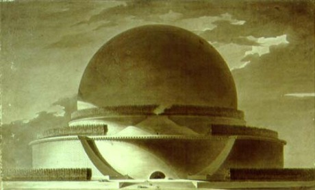 Étienne-Louis Boullée's design for a Cenotaph for Newton, which remains unbuilt. This is perhaps one of the most famous unbuilt structures in the history of architecture.