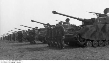 German Panzer IV tanks lined up for inspection in France during the Second World War.