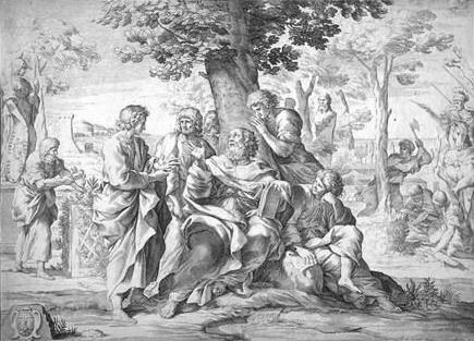 An imaginary illustration of Protagoras teaching.
