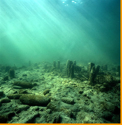 These pilings, preserved underwater in cold Swiss lakes, are among the few artifacts that remain from what is sometimes called the lake-dweller civilization