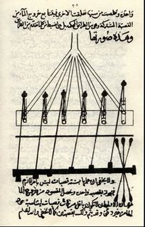 A manuscript illustration of a water pump designed by Taqi al-Din.