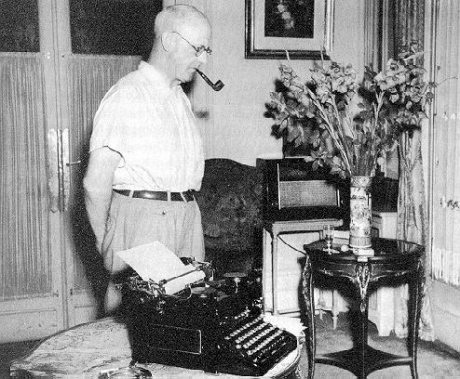 P. G. Wodehouse with a favorite Royal typewriter.