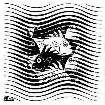 M. C. Escher, Fish and Waves