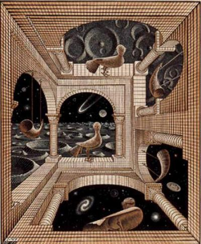 Another World, a woodcut print by M. C. Escher