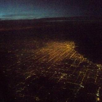 The lights of Chicago from cruising altitude.