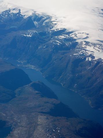 Aerial view of a fjord.