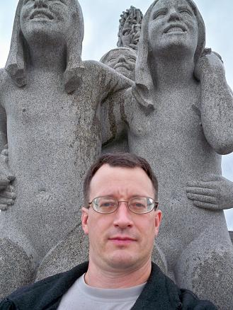 Newly arrived in Oslo and in Frogner Park, I still have my glasses on as I don't wear my contacts while flying.