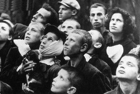 Poles watch the first German planes over Warsaw.