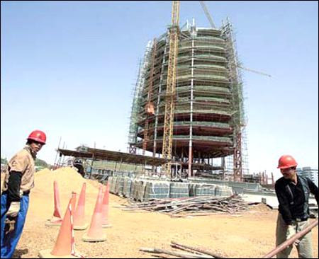 Chinese engineers assemble steel at a construction site in Sudan's capital Khartoum.
