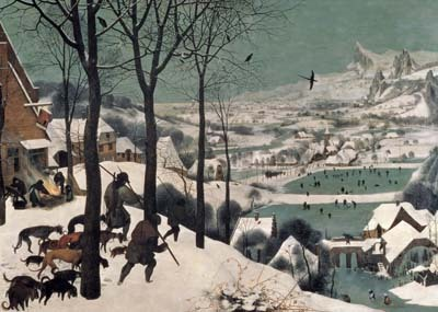 Pieter Bruegel the Elder's famous painting of Hunters in the Snow shows a people immersed in their landscape, organically a part of their climate and topography. The ordinary thought of such people would have been similarly immersed in this landscape, emerging from it naturally, not imposed from without or above.