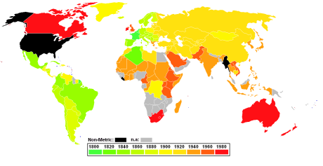 World map showing dates at which the metric system was adopted.