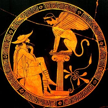 Oedipus answers the riddle of the Sphinx: not all questions are so easily answered nor have such happy consequences, as Oedipus will discover.